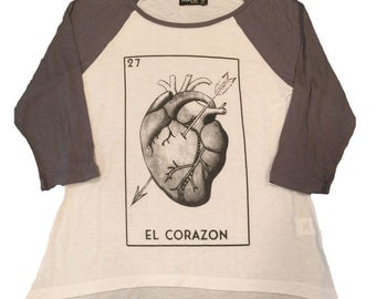 El Corazon Women's Baseball 3/4 Sleeve Tee New