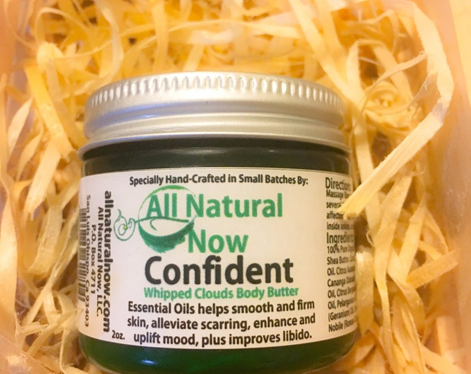 Confident Whipped Body Butter/100% Pure & Therapeutic Essential Oils/Anti-Aging/Skin Firming/Skin Tonic/Stretch-Marks/Blemishes
