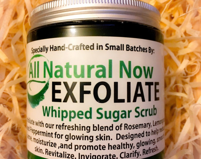 Exfoliate Whipped Sugar Scrub/100% Pure & Therapeutic Essential Oils/Skin Renewal/Cleanser/Anti-Aging