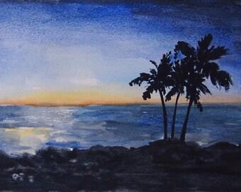 Hawaii Sunrise Watercolor Print
