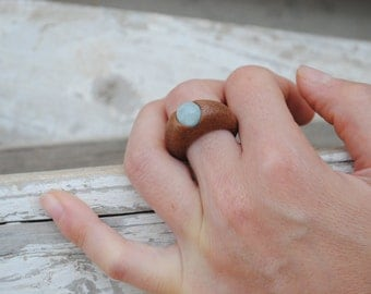 Precious wood and angelite stone/jewelry nature/Jewels/ wooden jewelry/jewelry woman/handmade/made in italy/gift woman/gift birthday/