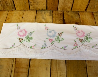 Vintage Floral Embroidered Pillow Case