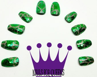 Glittery Green Press On Nails With Mystical Golden Designs   Sparkly Nails   Fake Nails   False Nails   Drag Queen Nails   Nail Art