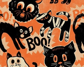 Black Cat Halloween Fabric | Halloween Fabric | Cats | Orange | Black | Kitty Cat Fabric | Vintage Halloween Fabric | Howling Cat Print