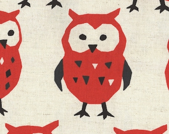 Owl Fabric | Adorable Owl Print | Kokka Fabric | Japanese Import Fabric | Lightweight Canvas | Nordic Animals