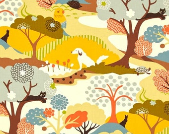 Dog Fabric | Cat Fabric | Momo | Forest Print | Tree Fabric | Enchanted Forest | Woods | Large Tree Print | Cute Dog Fabric | Parrots