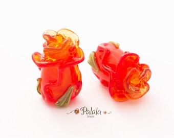 Pair of Handmade Lampwork Orange Rose Bud Beads