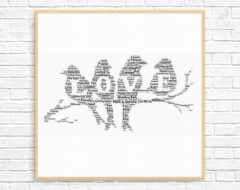 Personalized ENGAGEMENT GIFT - Word Art - Art Print - Printable Art - Unique Engagement gift For Couple - Engagement Card - Love Bird Design
