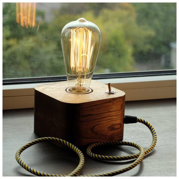 edison lampwood lampwooden edison lamptable lamphandmade. Black Bedroom Furniture Sets. Home Design Ideas