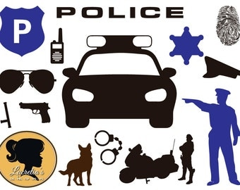 Police , Police svg, Police Silhouette, Police Car, Police officer svg,  SVG files for Silhouette Cameo or Cricut, vector, .svg, dxf eps