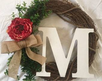 Rustic Summer Wreath, Monogram Wreath