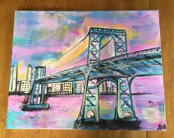 City in Color, original painting on canvas
