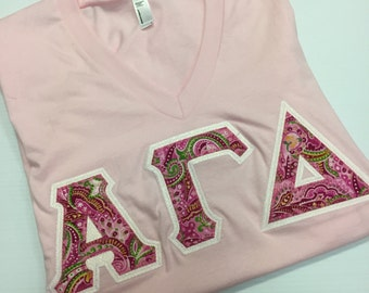 Pink Paisley Greek Letter Shirt