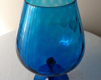 Giant Blue Diamond Optic Art Glass Giant Brandy Snifter/Vase