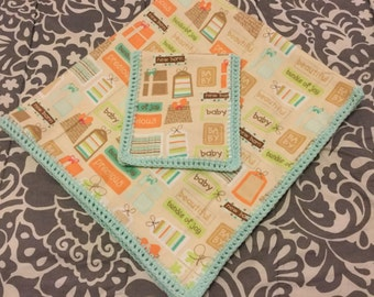 Baby Receiving Blanket - precious bundle of joy, gift wrapped packages in coral, aqua, turquoise, tan, lime green on a light tan background