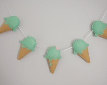 Icecream Garland - icecream nursery garland, pastel green icecream good enough to eat!