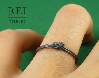 Black Knot Srerling Silver Ring, Knot Silver Ring, Ring, Stacking Blackened Knot Ring, 925 Silver Rope Ring, Oxidized Ring, Gift for Friend