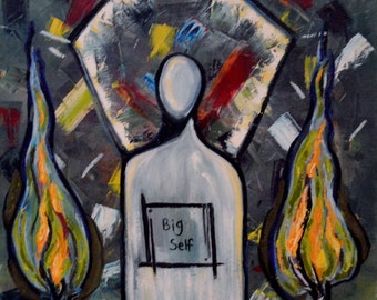 """The People Series #5 """"Big Self""""-abstract oil painting-mental health-art therapy-self love Free Shipping inside USA"""