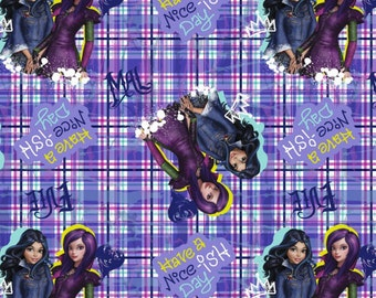 """Disney Fabric: The Descendants Fabric - The Descendants Have a Nice-ish Day Characters Toss  100% cotton Fabric by the yard 36""""x44"""" (SC210)"""