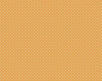 "Halloween Fabric: Happy Halloween PUMPKIN Pin Dot Orange 100% cotton fabric by the yard 36""x43"" (N432)"