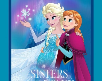 """Disney Princess Fabric - Frozen Fabric with Elsa and Anna Sisters is magic, Snowflakes  100% cotton Fabric by Panel 35""""x43"""" SC131"""