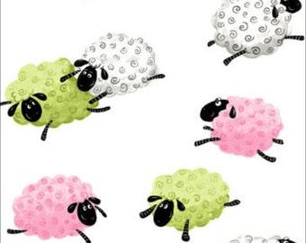 "Susybee Fabric : Lewe, the ewe Sheep - Jumping Hopping Leaping sheep Fabric 100% cotton fabric by the yard 36""x42"" (SB66)"