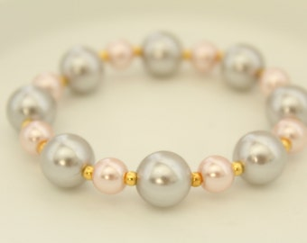 Baby Pearl Bracelet - Stretch Bracelet - Silver Pearls - Wedding Bracelet - Gift for Her - Gift under 10