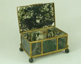 Antique Moss Agate Hardstone Box Gilt Brass Victorian Trinket French Jewellery
