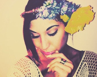 Handmade boho hippie Floral Crown headband