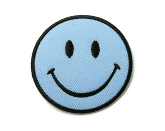 Smiley Smile Happy Blue Face Embroidered Applique Iron on Patch 6.6 cm. x 6.6 cm.