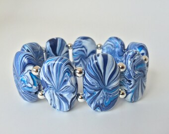 Blue and White Polymer Clay Bracelet