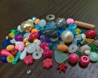 Mixed lot of beads, all shapes and sizes. Every bag is different! (1 oz)