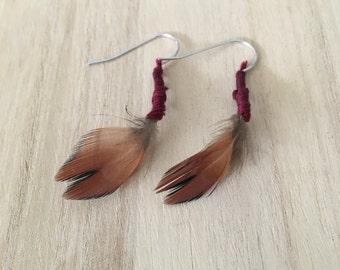 Handmade Geniune Pheasant Feather Earrings