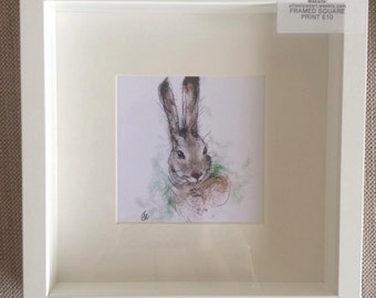 Framed hare painting // mounted print // framed print // hare art // hare gifts // hare drawing // hare illustration // nursery decor