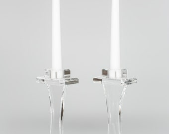 Acrylic/Lucite Clear Modern Flat Candlesticks (sold as pair)