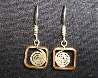 Stylish hand-made earrings from recycled materials