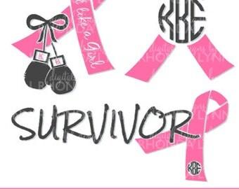 Breast Cancer Monongram SVG, DXF, jpg, png, pdf cut file, Breast Cancer Vector File, Breast Cancer Digital Download, Think Pink Graphic
