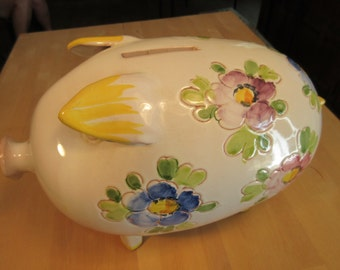 Ceramic floral pattern piggy bank, Italy