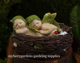 Miniature Dollhouse FAIRY GARDEN ~ Sleeping Twin Fairy Babies in Nest Statue  ~ NEW