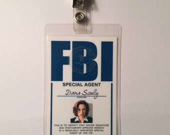 X FILES Dana Scully Badge ID Name Tag Card Costume Cosplay Prop Laminate
