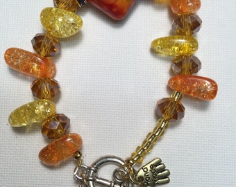 Fall colours glass Beaded bracelet