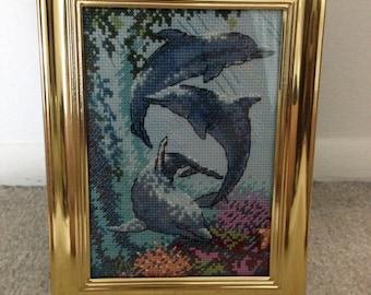 6.5x8.5 Framed Dolphin Cross Stitch
