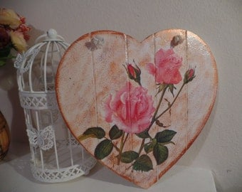 Shabby Chic Vintage Hanging Heart Decorations 20cm/20cm