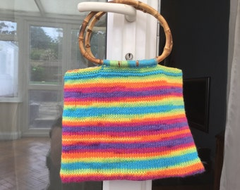 Multi coloured hand knitted bag