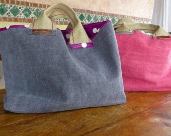 LILI - canvas linen/cotton double oilcloth tote bag