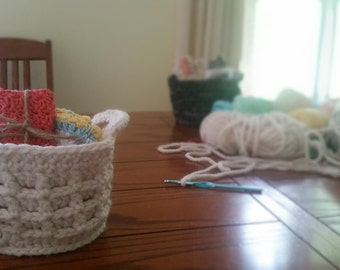 Handmade Crochet Raised Box Stitch Basket