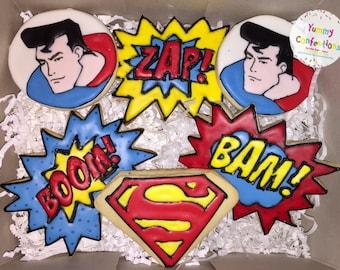 Superman Super Hero Birthday Cookies - 1 DOZEN (12 Cookies)