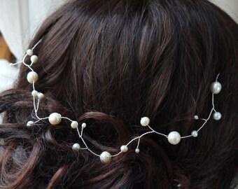 Wedding Hair Accessory, Bridal Hair Adornment, Hair Vine, Headdress, Hairpiece, Pearl