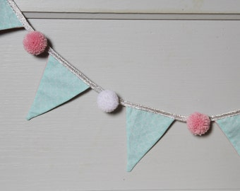 Garland pennants PomPoms mint and pink