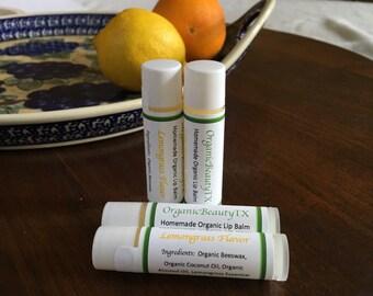 Organic Lip Balm- Beeswax Lip Balm- Lemongrass Lip Balm